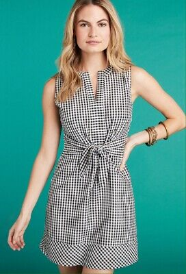 1a28954502 VINEYARD VINES SUN Dress Navy Gingham Check Tiered Cover Up Size M ...