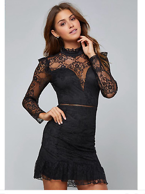 Nwt Bebe Sexy Black Lace Ruffle Mini Skirt Dress! Medium Msrp $139+Tax Soldout!