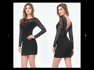 Nwt Bebe Black Floral Lace Peek A Boo Deep V Back Dress! Msrp $129+Tax! Small