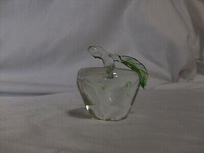 3 Vintage Hand Blown Art Crafted Glass Fruit - Grapes, Pear & Apple w Leaves