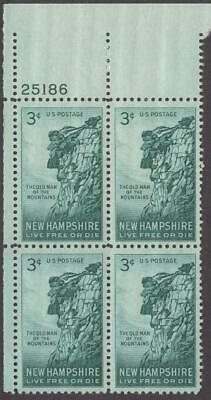 Scott # 1068 - US Plate Block Of 4 - Old Man Of The Mountains - MNH - 1955