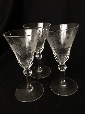 Vintage Cut Crystal,Cut Glass,Engraved Etched Drinking Glass,12.5Cm Tall,Gc