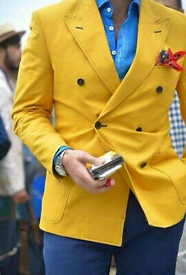 Double Breasted Slim Yellow Blazer Blue Pants Wedding Prom Party Men's Suits