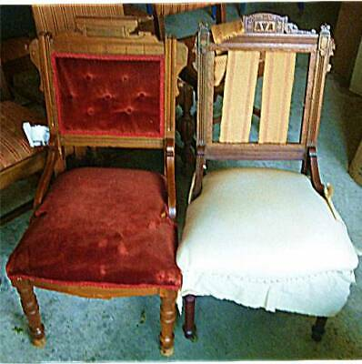 Pair Of Antique Victorian Chairs – Need Reupholstery