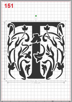 Beautiful Alphabet Letter T Stencil MYLAR A4 sheet strong resuable Craft ArtDeco