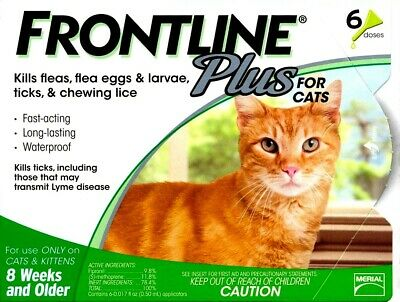 Frontline Plus Flea and Tick Control for Cats and Kittens, 6 Doses Free Ship NEW