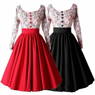 Womens Swing Vintage Retro Party Floral Summer Skater Rockabilly Dresses 60s 50s