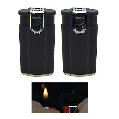 """2 pcs """"Black"""" Dual Flame Torch Soft & Windproof Flame Butane Refillable Lighter"""