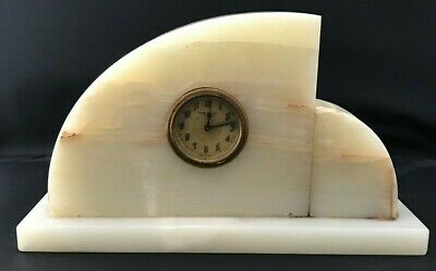 New Haven Onyx Marble Mantle Clock