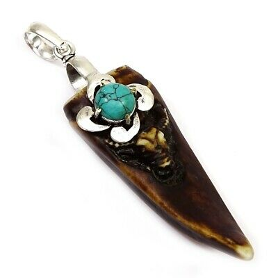 Turquoise, Carved Bone Silver Plated Jewelry Pendant 1.5'' to 2.5'' bQ560