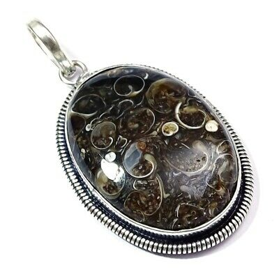 Turtella Agate Gemstone Silver Plated Pendant Jewelry 1.5 To 2.5'' oF611