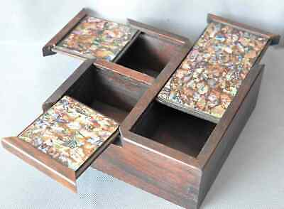Collectable Boxwood Inlay Conch Hand Carve Usable Girl Usable Old Jewelry Box