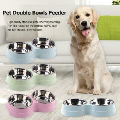 Double Bowl Stainless Steel Pet Puppy Dog Cat Food Water Dish Feed Feeder Tool