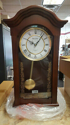 Bulova C4443 Pendulum Chime Wall Clock Quartz Movement Roman Numerals Wood Case^