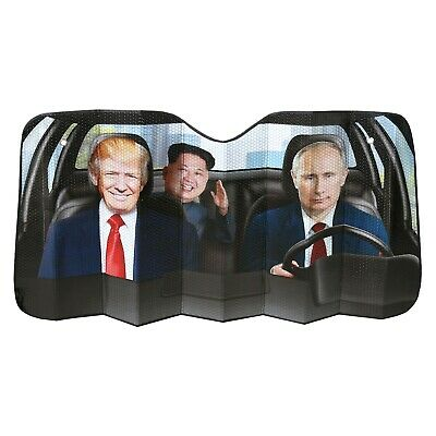 World Leader Car Sun Shade - Funny Trump, Putin and Kim Jong Un Sunshade