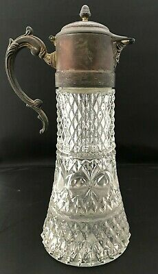antique pitcher cut crystal with silver plate top