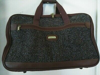 Jaguar Suitcase Luggage Leather Strap Travel Bag Soft Side Vintage EUC