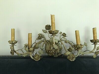 Incredible vintage iron ornate light fixture (antique wall sconce)