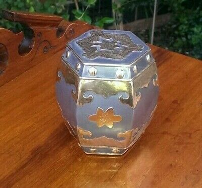 Rare Antique Solid Pewter & Brass Arts & Crafts Trinket Box 10 cms x 9.5 cms