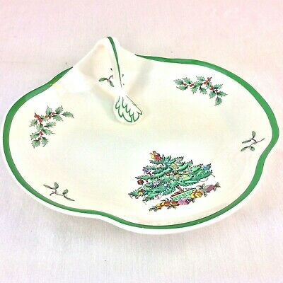 """SPODE Christmas Tree Snack Tray  Handle 8"""" Candy Dish Made In England"""