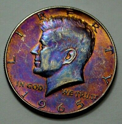 1965-P KENNEDY HALF DOLLAR  50c , Toned , Silver COIN, No Reserve ..!