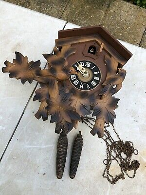 Vtg Wooden Wall Germany Cuckoo Parts Day Music Black Antique Forest Bird