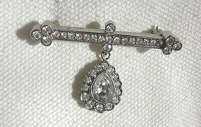 Brooch / Pin Very Pretty Antique Style , Bar With Fob  Set with Diamante