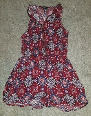 rue21 Romper - Paisley Patterned Red and Blue (Woman's, Extra-Small XS)