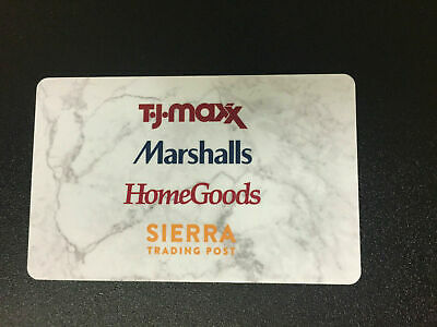 T.J.Maxx Marshalls HomeGoods Sierra Trading Post no value collectible gift card