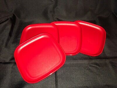 """Tupperware Luncheon Square Plates 8"""" raised sides RED Set Of 4 New"""