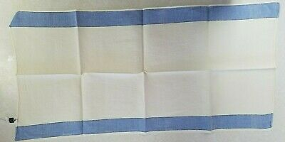 Vintage Linen Tea Towel Made in Japan With Tag 14x28  White with Blue Stripes
