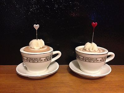 Adorable Set of 2 Mini Teacup Coffee Pincushions Sewing Gift
