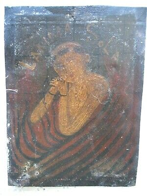 Original Antique  Retablo On Tin  With The Image Of Lonely Soul Great Piece