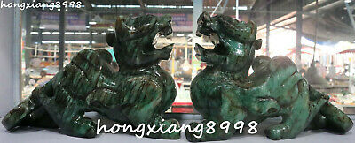 """10"""" China Old Jade Hand Carved Dragon Loong Pixiu Brave Troops Beast Statue Pair"""