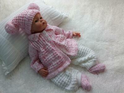 Adorable Hand Knitted 4 Piece Matinee Set for a Baby Girl or Reborn Doll