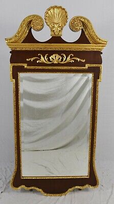 Friedman Brothers Mahogany Chippendale Style Mirror Gold Gilt Williamsburg Style