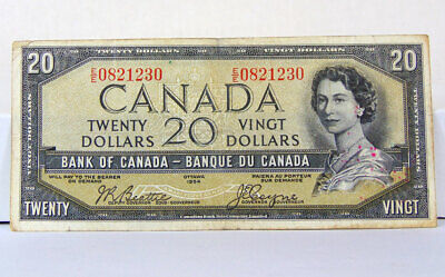 1954 $20 Canadian Bill - Devils Face - EE PREFIX