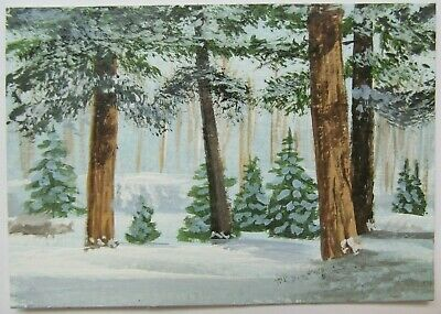 ACEO Original Acrylic Painting Landscape Snow Trees Winter Finery by Joan Hutson