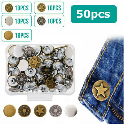 Jeans Button 50 Sets Metal Tack Buttons Replacement Kit Repair For Sewing Pants