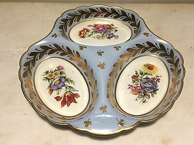 Antq. Limoges, France China Serving Dish /Tray 3 part, Hand Painted & Gold Gilt