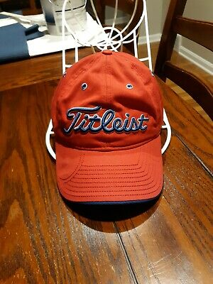 TITLEIST BY NEW ERA Red Baseball Hat Strapback Cotton Blue Embroidered SHARP!