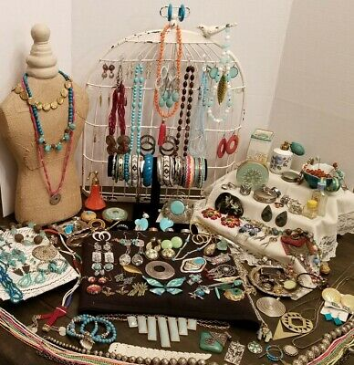 Vintage Turqoise/South Western Jewerly Lot Brooches, Clipon Earring And Much...