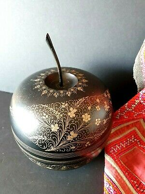 Old Rajasthan Enameled Apple Shaped Betel Box …beautiful collection and accent /