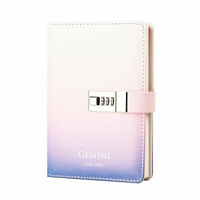 Lock Diary Leather Journal Writing Notebook Planner Organizer Starry Sky Constel