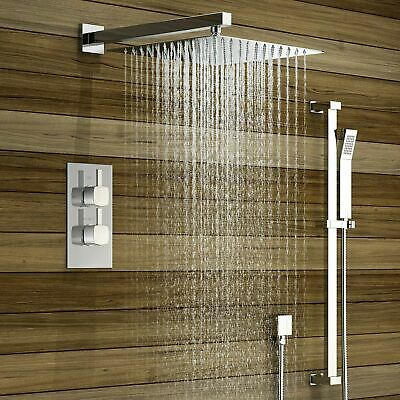 Thermostatic Shower Mixer Square Chrome Bathroom Conceal  Twin Head Valve Set 02
