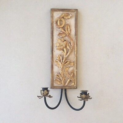 Antique Italian Wall Light Carved Gilt Wood and Gesso metal Candle holders.