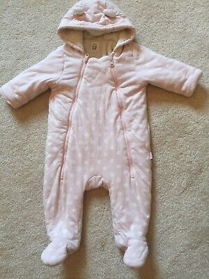 Beautiful Baby GAP fleeced lined Pram Suit-Pale Pink/White Spots Age 6-12 Months