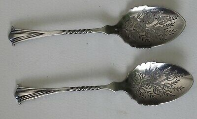 ATKINS BROTHERS pair of ornate SILVER PLATE SAUCE SPOONS HA EA FA EPA