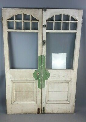Pair of Edwardian painted pine summerhouse / conservatory doors