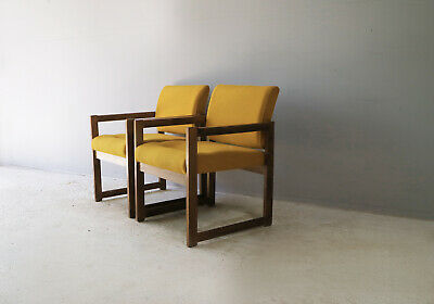Set of 4 1960's mid century french oak frame lounge chairs